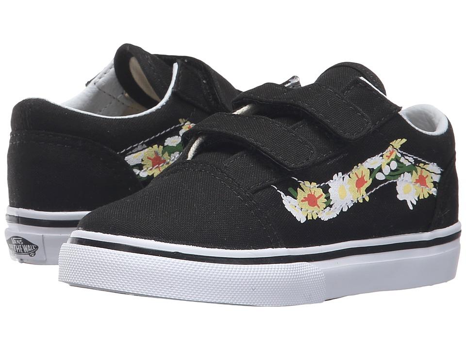 Vans Kids - Old Skool V (Toddler) ((Daisy) Black/True White) Girls Shoes