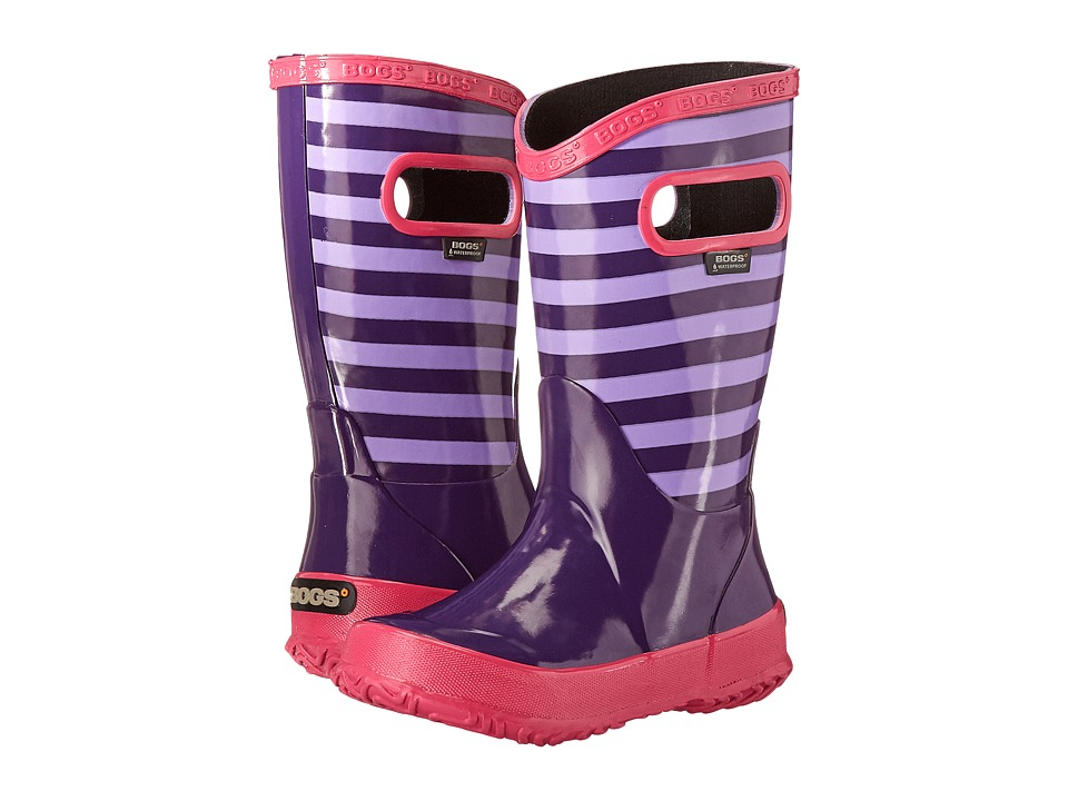 Bogs Kids - Rain Boot Stripes (Toddler/Little Kid/Big Kid) (Grape Multi) Girls Shoes