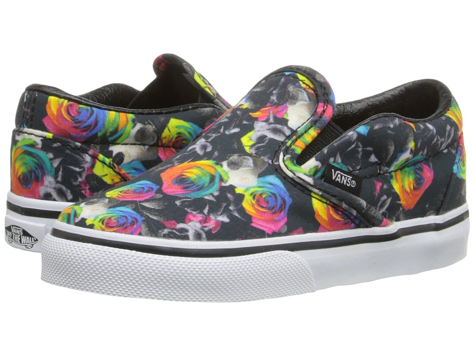 Vans Kids - Classic Slip-On (Toddler) ((Rainbow Floral) Black/True White) Girls Shoes