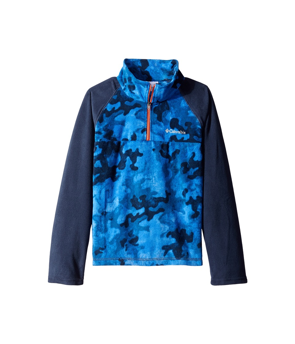 Columbia Kids - Glacial II Print Half Zip (Toddler) (Collegiate Navy/Blue Camo Tangy Orange Zip) Boy's Fleece