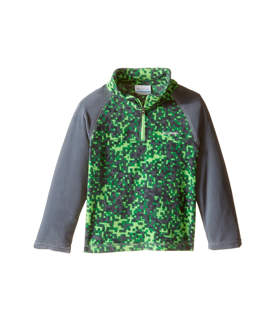 Columbia Kids - Glacial II Print Half Zip (Toddler) (Graphite/Green Digicamo Fuse Green Mamba Zip) Boy's Fleece
