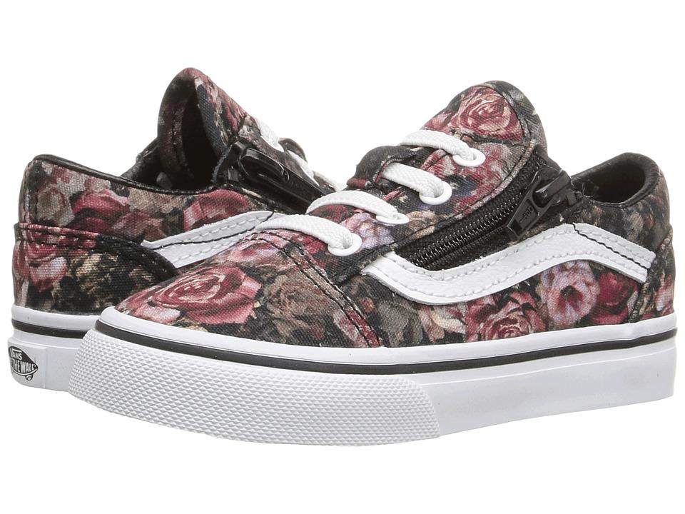 Vans Kids - Old Skool Zip (Toddler) ((Moody Floral) Black/True White) Girls Shoes