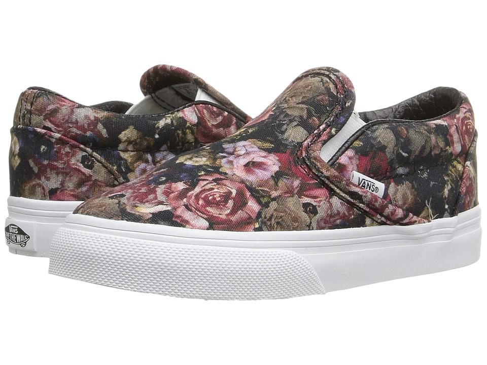 Vans Kids - Classic Slip-On (Toddler) ((Moody Floral) Black/True White) Girls Shoes