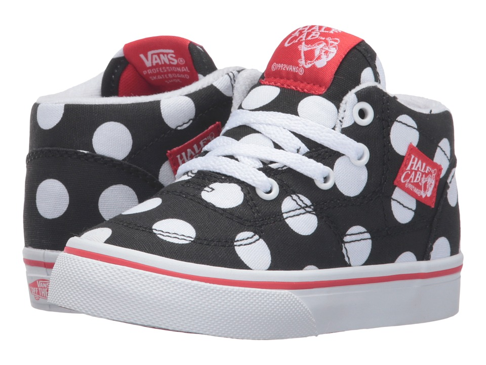 Vans Kids - Half Cab (Toddler) ((Polka Dot) Black/Fiery Red) Girls Shoes