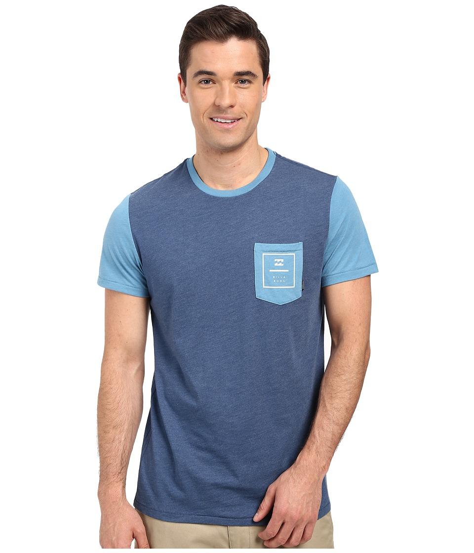 Billabong - Zenith Printed Short Sleeve Crew Tee (Dark Blue Heather) Men's Short Sleeve Pullover