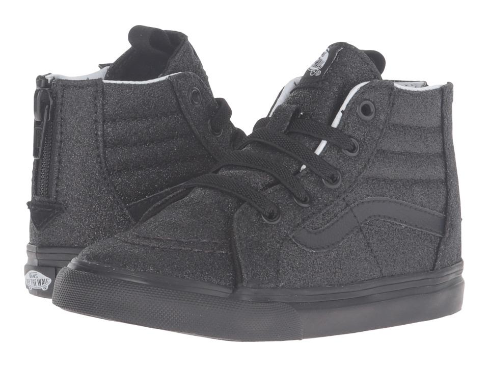 Vans Kids Sk8-Hi Zip (Toddler) ((Shimmer) Black/Black) Girls Shoes