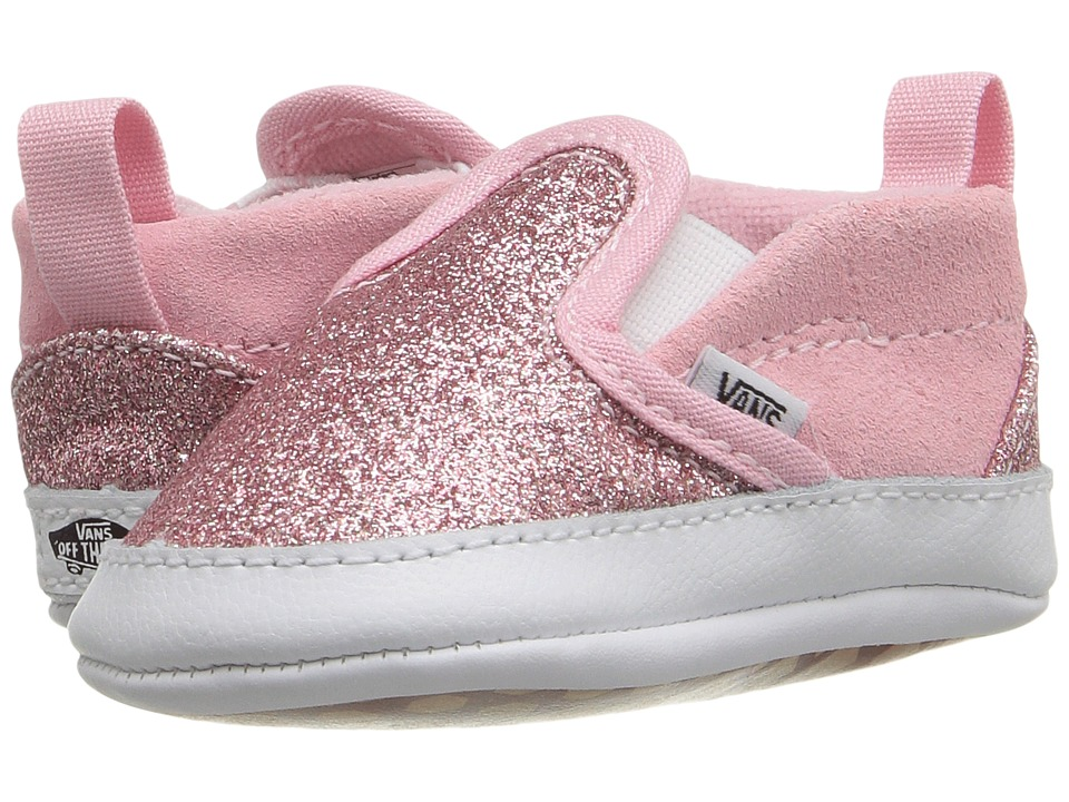 Vans Kids - Slip-On V Crib (Infant/Toddler) ((Shimmer) Bright Pink) Girls Shoes