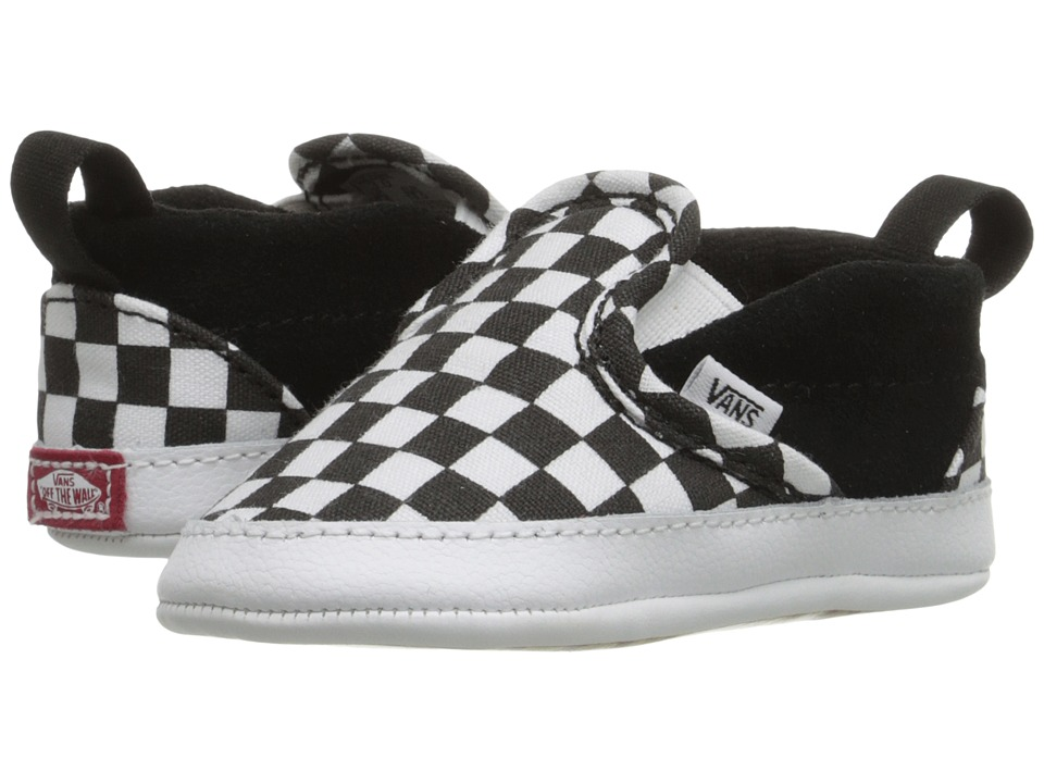 Vans Kids - Slip-On V Crib (Infant/Toddler) ((Checker) Black/True White) Kids Shoes