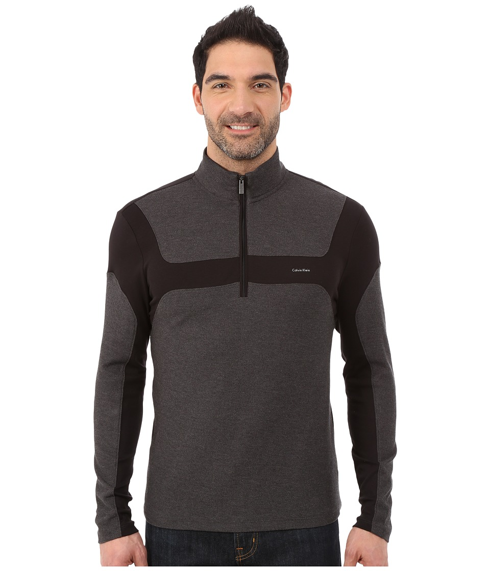 Calvin Klein - Long Sleeve Q-Zip Color Blocked Interlock Honey Comb Mock (Black) Men's Sweater