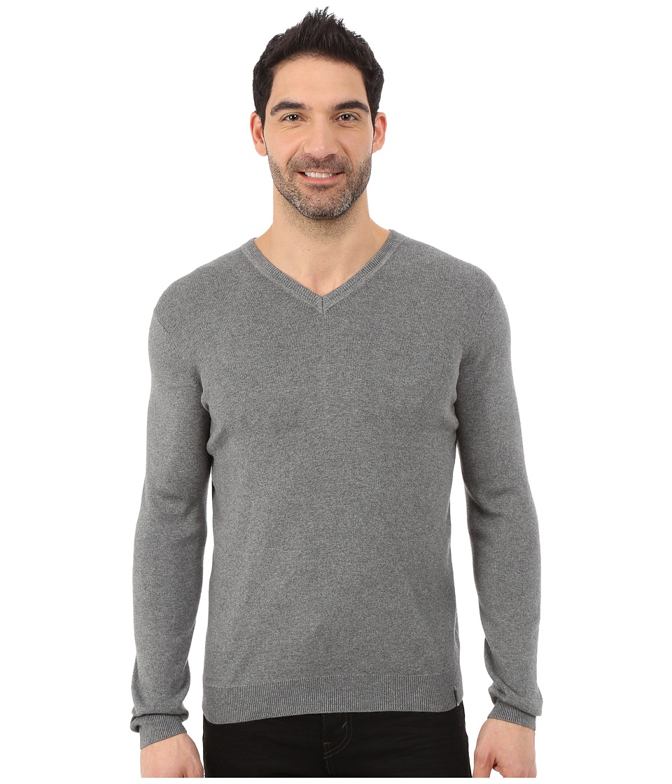 Calvin Klein - Cotton Modal Full Needle V-Neck - 14GG (Lock Box Heather) Men's Clothing