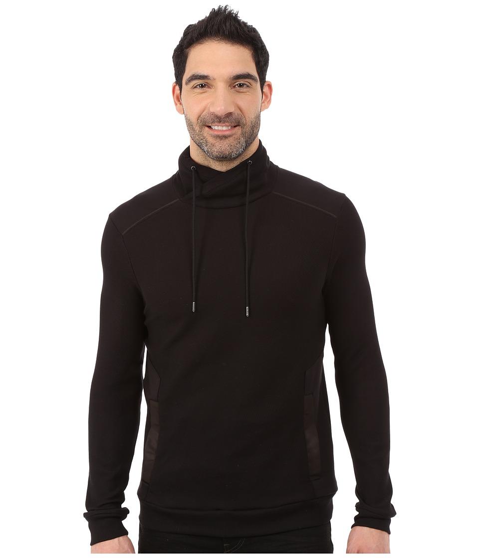 Calvin Klein - Long Sleeve 1/2 Zip Pullover Interlock Jacquard Funnel (Black) Men's Sweatshirt