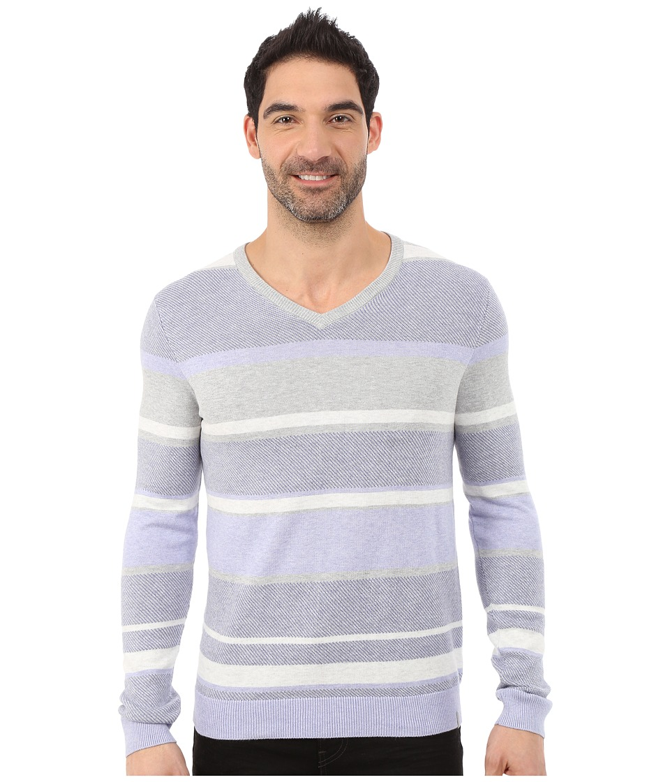 Calvin Klein - Cotton Modal Twill Striped V-Neck - 14GG (Lavender Lake) Men's Sweater