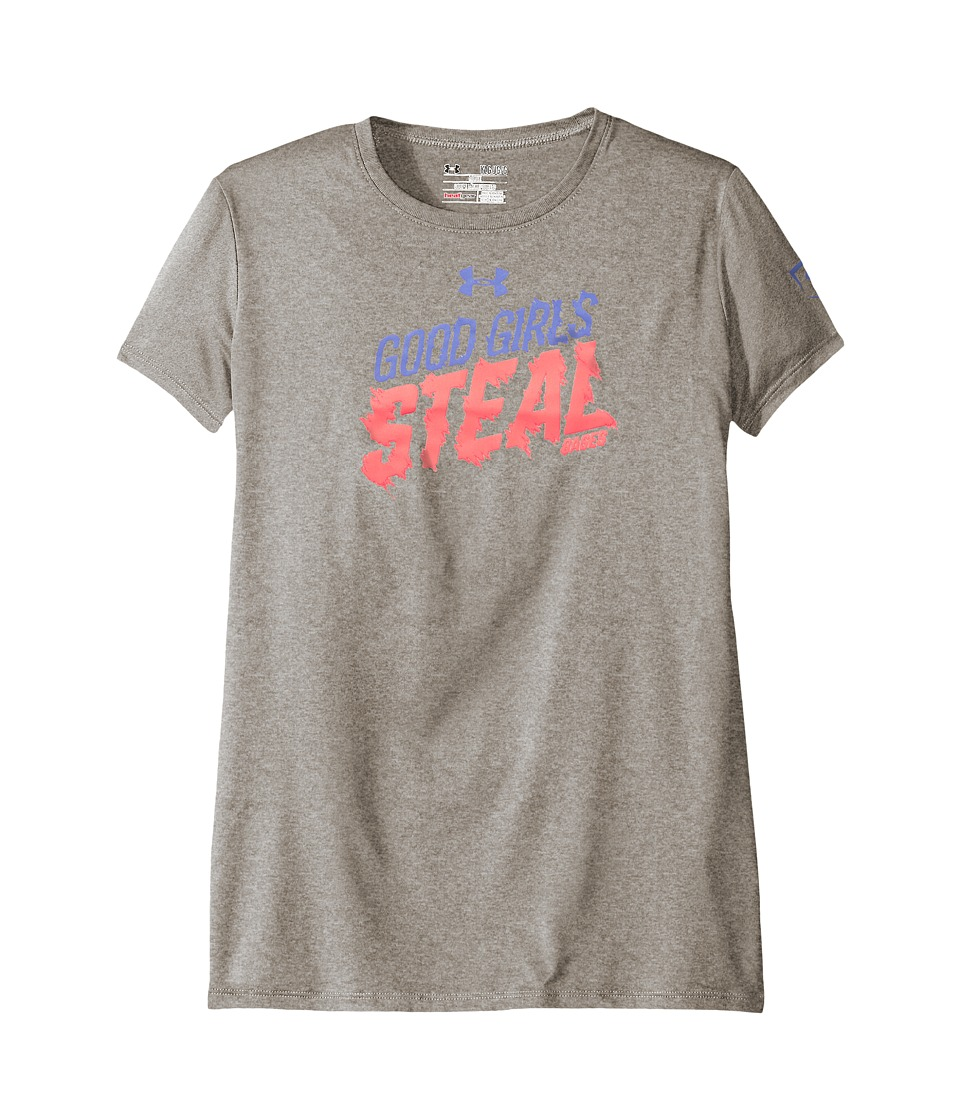 Under Armour Kids - UA Steal Bases Tee (Big Kids) (True Gray Heather/Brilliance/Violet Storm) Girl's T Shirt