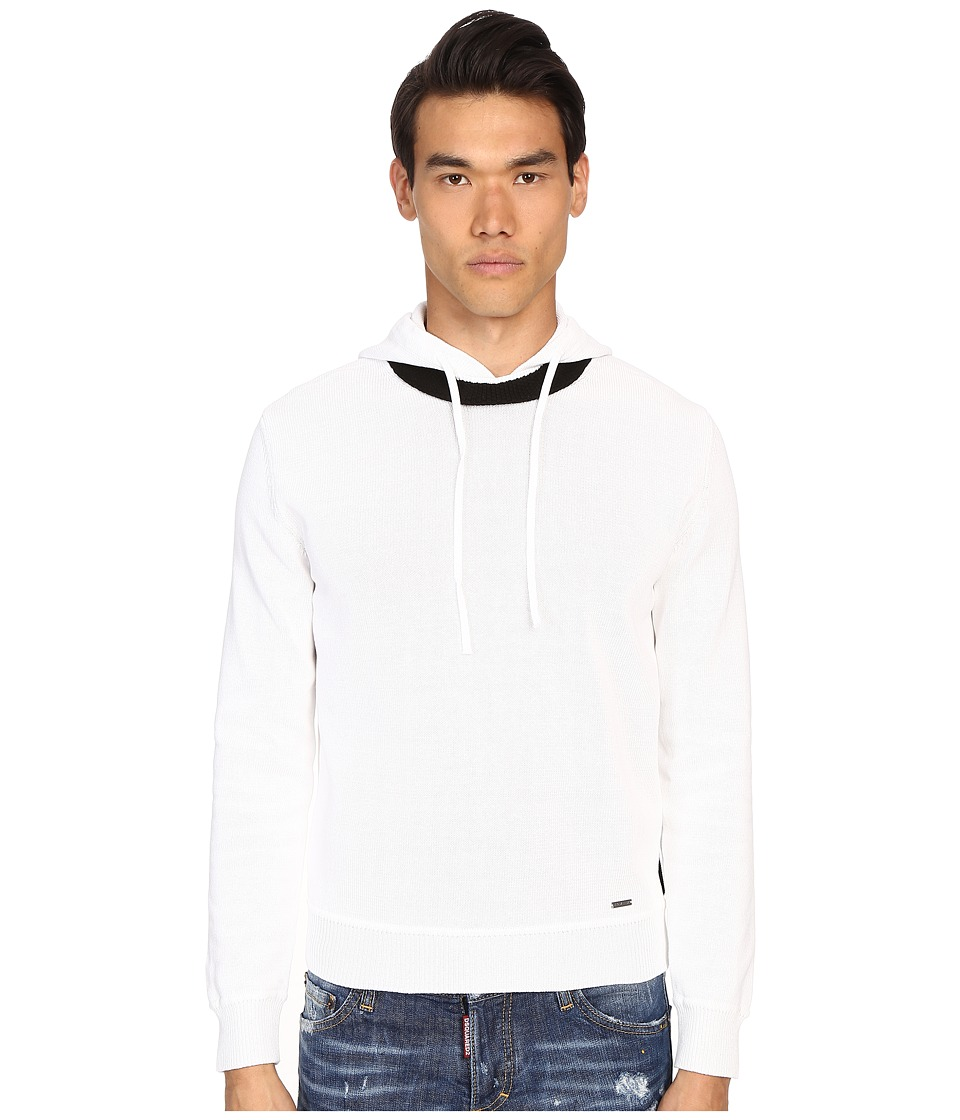 DSQUARED2 - Techno Knit Hoodie (White Combo) Men's Sweatshirt