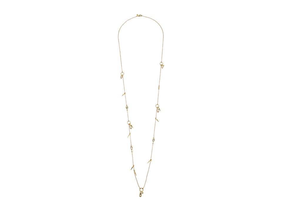 Alexis Bittar - Petite Spike Open Ring Station w/ Fancy Cut Stone Drops Necklace (10K Gold) Necklace
