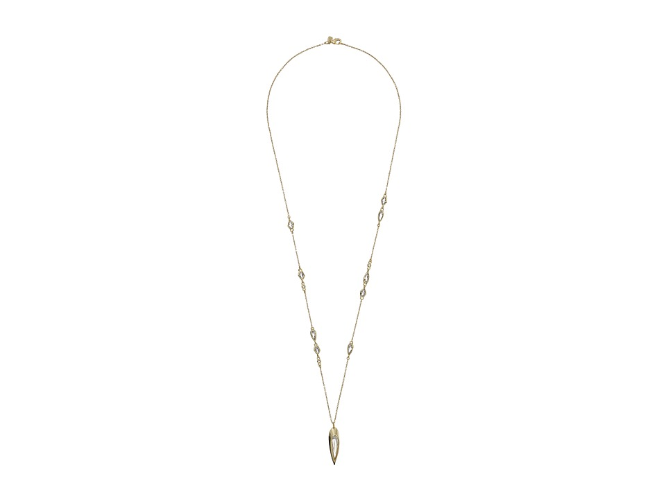 Alexis Bittar - Fancy Cut Stone Station w/ Elongated Tear Drop Pendant Necklace (10K Gold) Necklace
