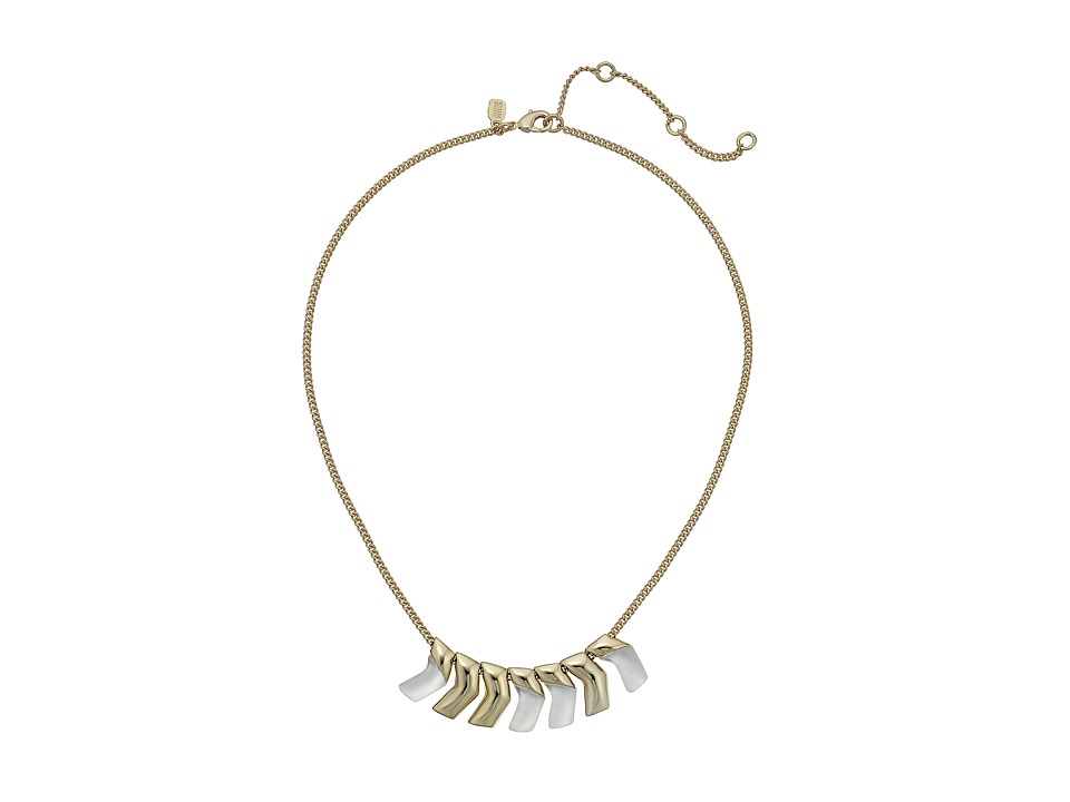 Alexis Bittar - Small Chevron Bib Necklace (Silver) Necklace