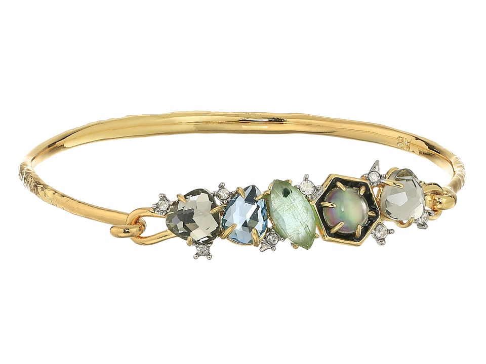 Alexis Bittar - Small Mosaic Hinge w/ Enamel Accented Custom Cut Stone and Pave Spike Detail Bracelet (14K Gold w/ Rhodium) Bracelet