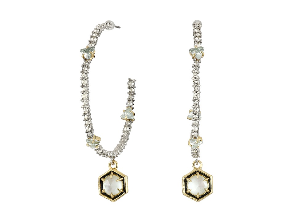 Alexis Bittar - Pave Hoop w/ Enamel Accented Custom Cut Stone Drop and Spike Detail Earrings (Rhodium w/ 14K Gold) Earring
