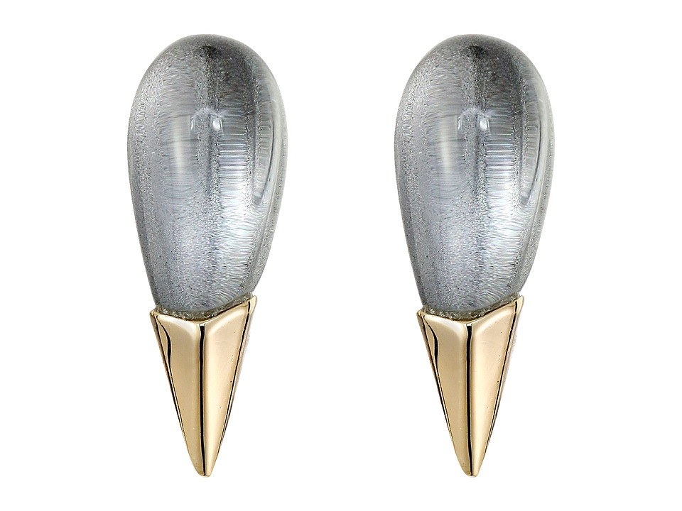 Alexis Bittar - Liquid Metal Capped Spike Post Clear Lucite Earrings (Cool Grey Clear) Earring