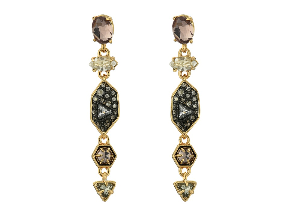 Alexis Bittar - Dangling Post with Pave Shield, Enamel Accents and Custom Cut Stones Earrings (14k Gold w/ Ruthenium) Earring