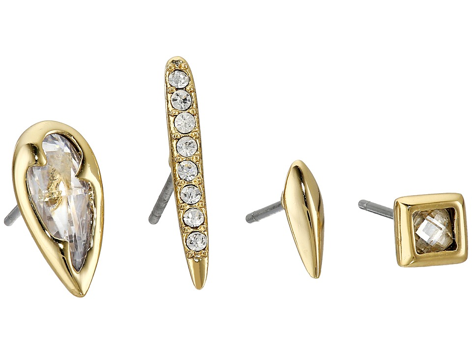 Alexis Bittar - Quad Post Set w/ Delicate Pave Spike, Fancy Cut Pear, Liquid Metal Shard and Fancy Cut Square (10K Gold) Earring