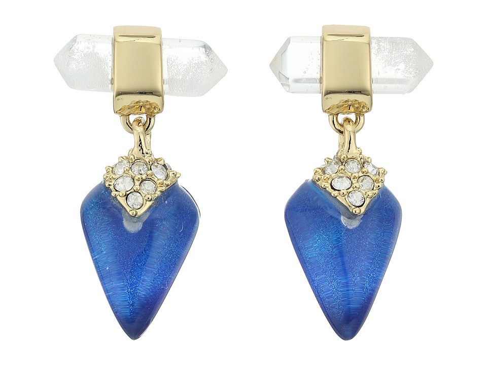 Alexis Bittar - Mini Rock Crystal Post Drop Earrings (Iridescent Cobalt Clear) Earring