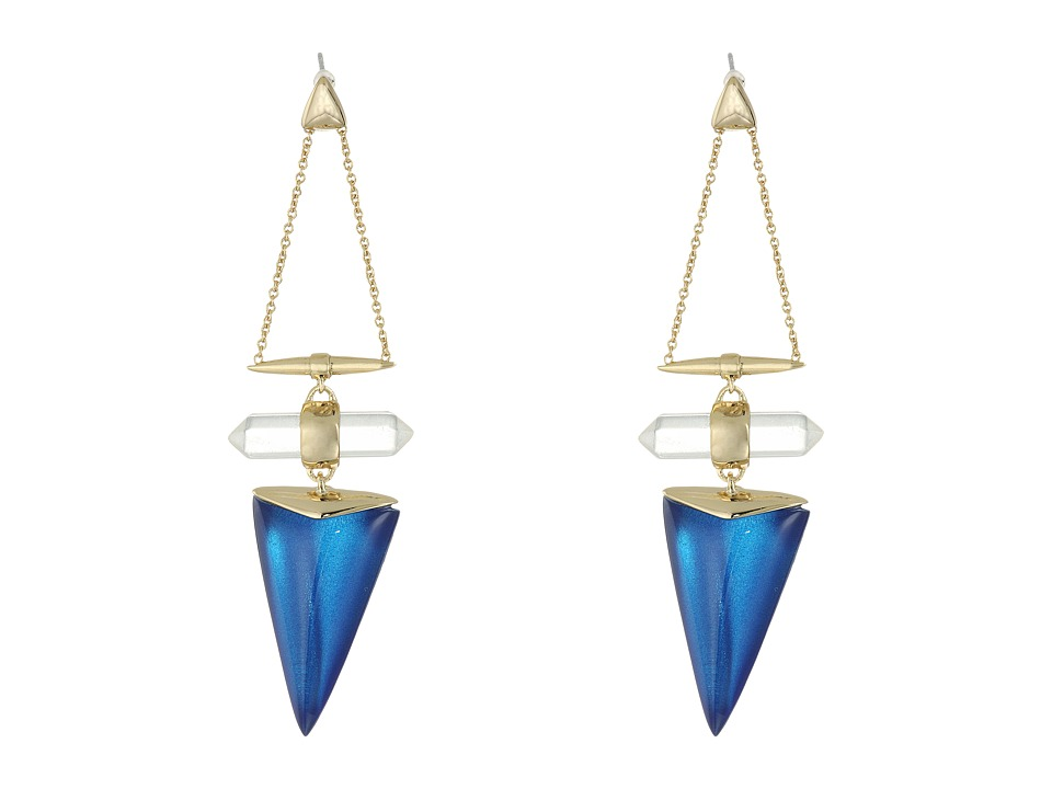 Alexis Bittar - Faceted Rock Crystal Dangling Post Drop Earrings (Iridescent Cobalt Clear) Earring
