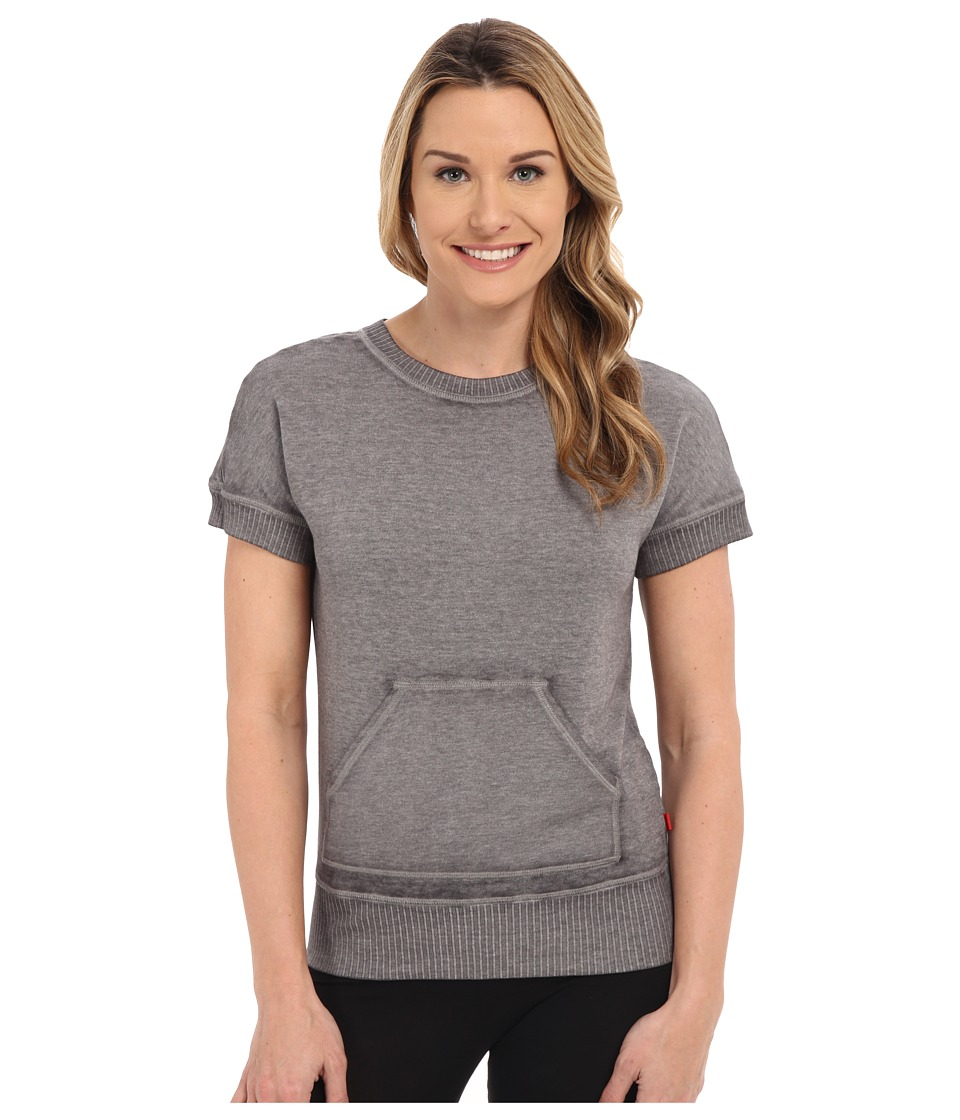 Josie New Sweat Short Sleeve Top (Dark Charcoal) Women