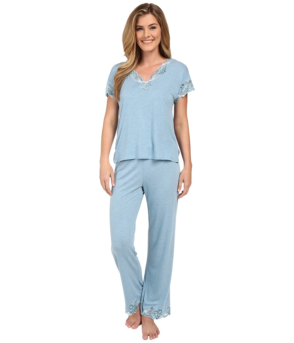 Natori - Zen Floral S/S PJ (Heather Sailor Blue) Women's Pajama Sets