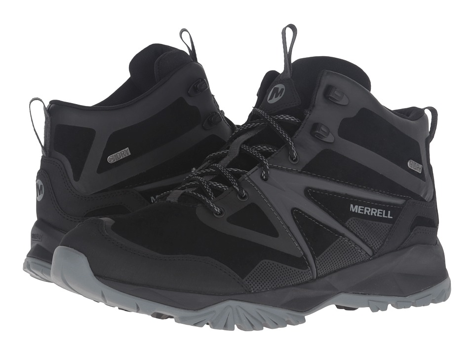 Merrell - Capra Bolt Leather Mid Waterproof (Black) Men's Shoes