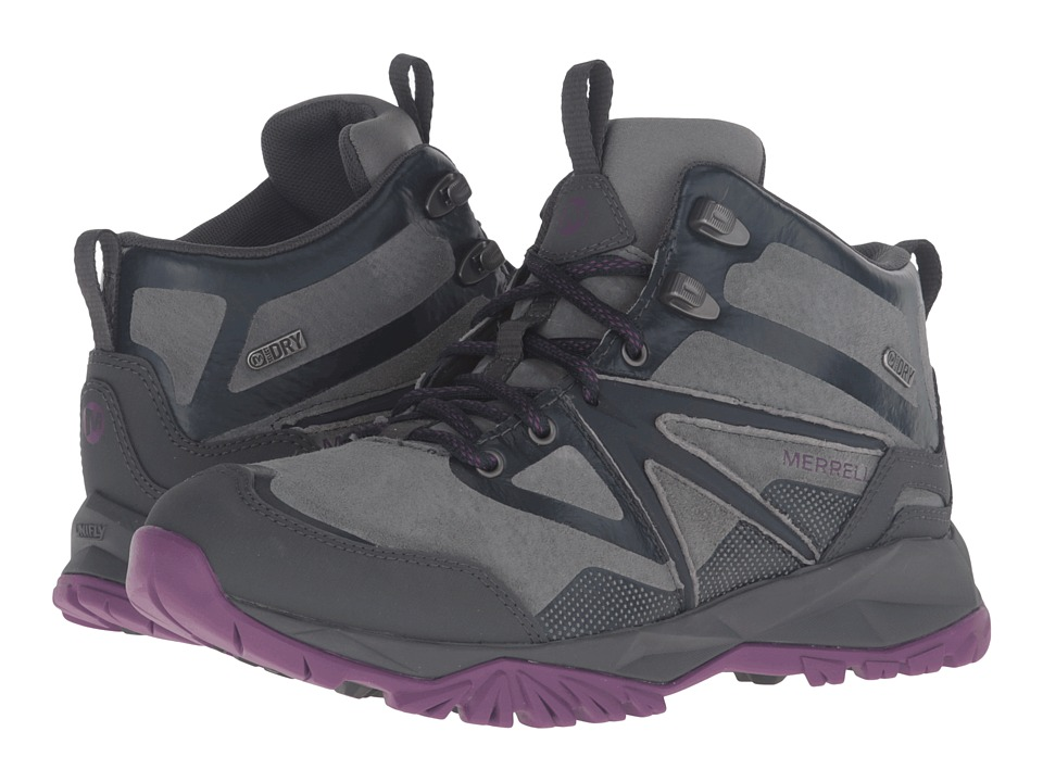 Merrell - Capra Bolt Leather Mid Waterproof (Grey/Purple) Women's Shoes