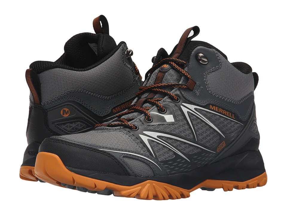 Merrell - Capra Bolt Mid Waterproof (Grey/Orange) Men's Shoes