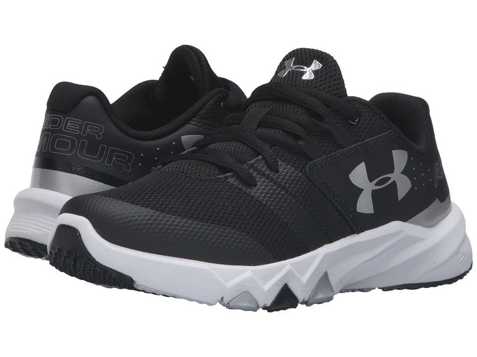 Under Armour Kids - UA BGS Primed (Big Kid) (Black/White/Metallic Silver) Boys Shoes