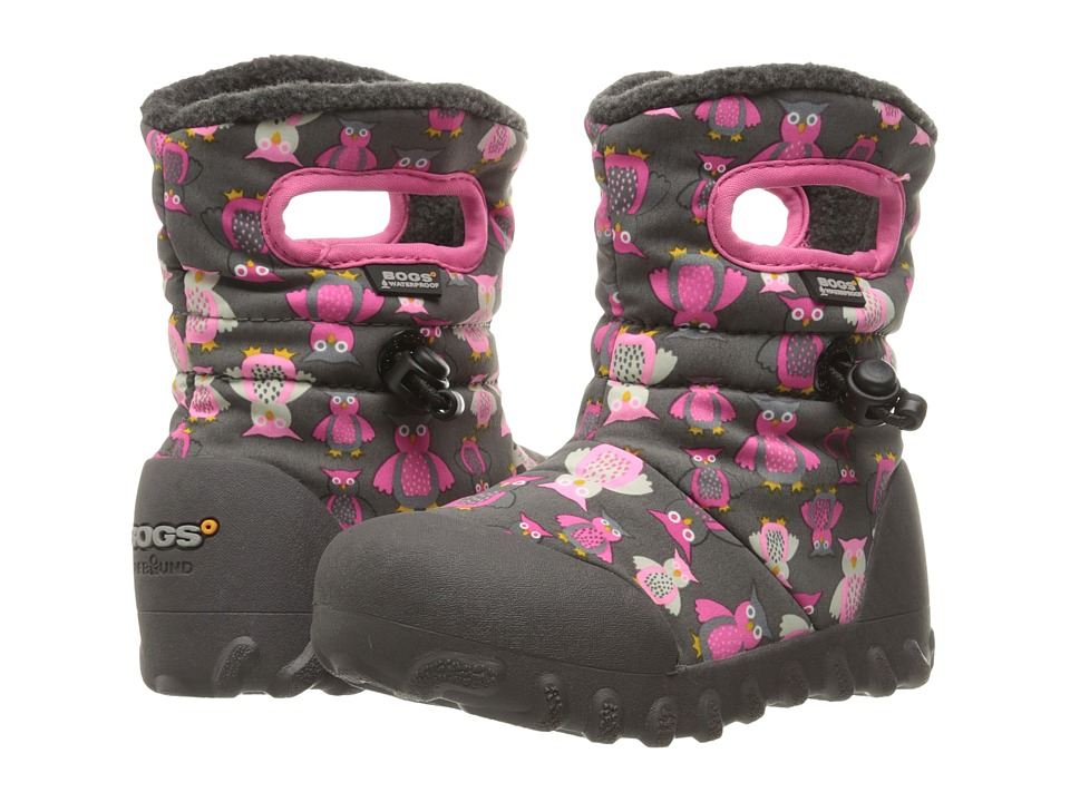 Bogs Kids - B-Moc Puff Owls (Toddler/Little Kid) (Dark Gray Multi) Girls Shoes