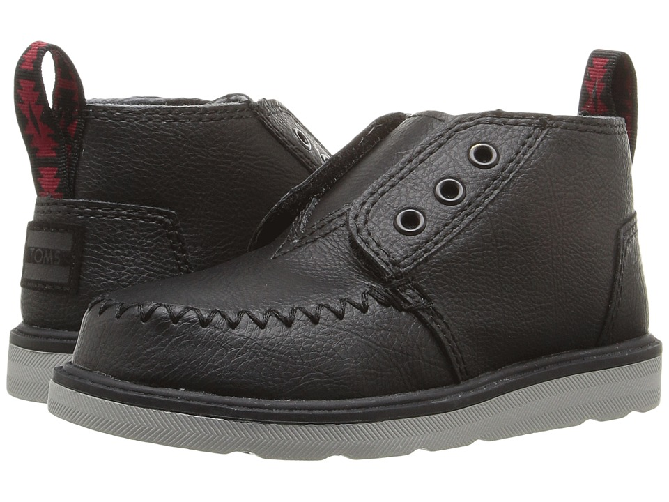 TOMS Kids Chukka Boot (Infant/Toddler/Little Kid) (Black Synthetic Leather) Boys Shoes