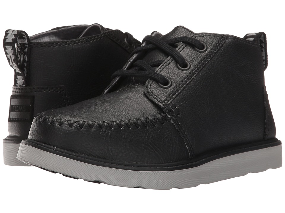 TOMS Kids Chukka Boot (Little Kid/Big Kid) (Black Synthetic Leather) Boys Shoes