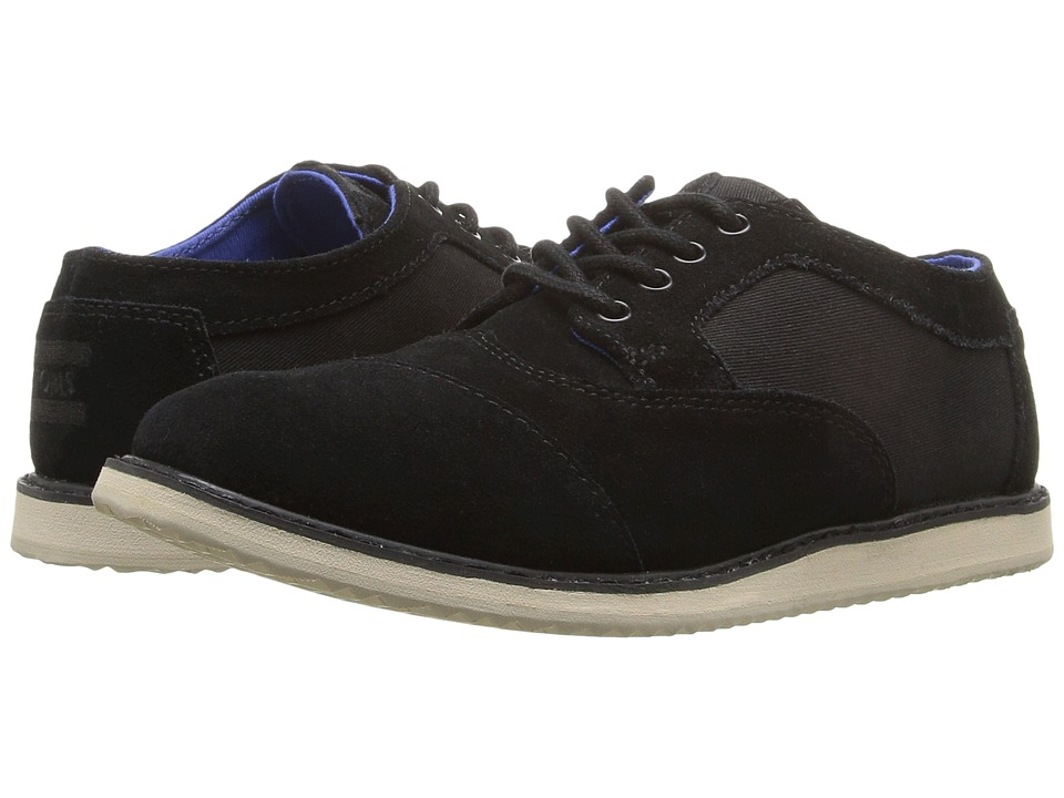 TOMS Kids - Brogue Dress Lace-Up (Little Kid/Big Kid) (Black Suede/Textile) Boys Shoes