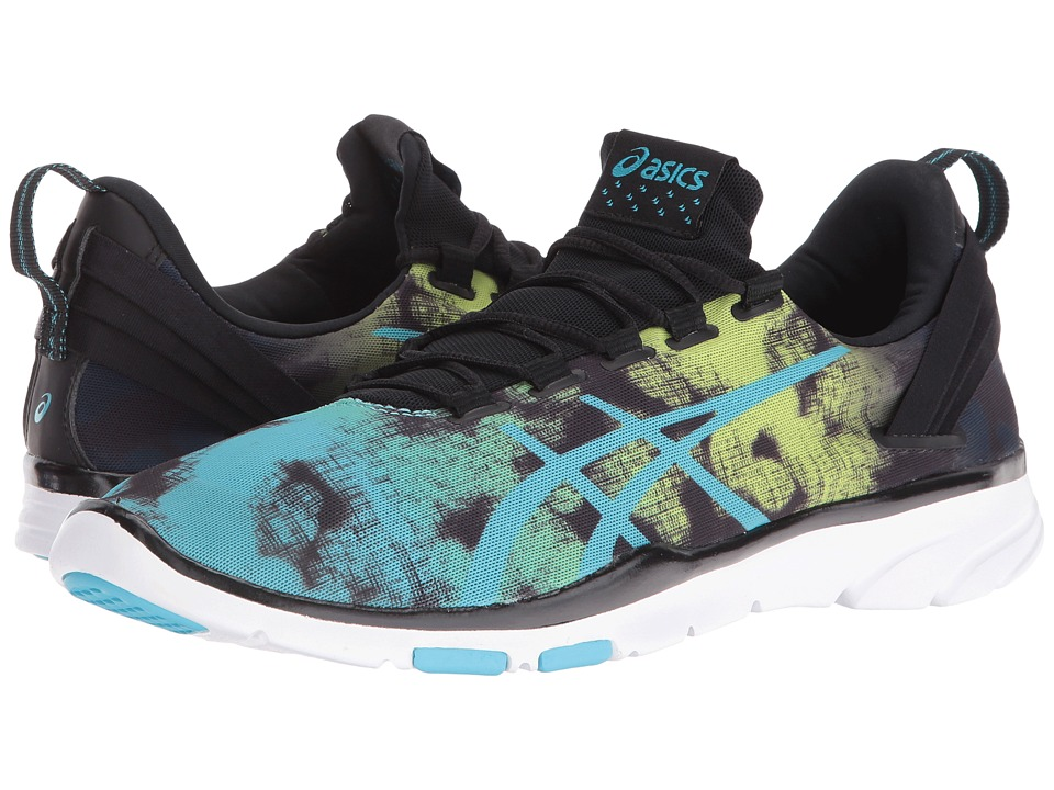 ASICS Gel-Fit Sana 2 (Black/Aquarium/Neon Lime) Women