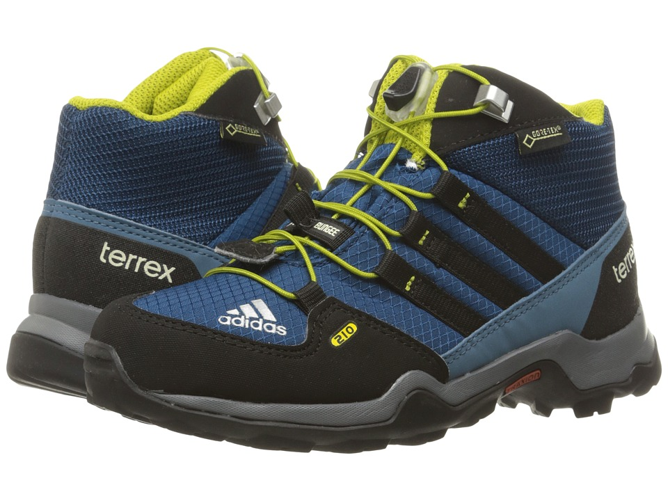 adidas Outdoor Kids Terrex Mid GTX (Little Kid/Big Kid) (Tech Steel/Black/Unity Lime) Boys Shoes