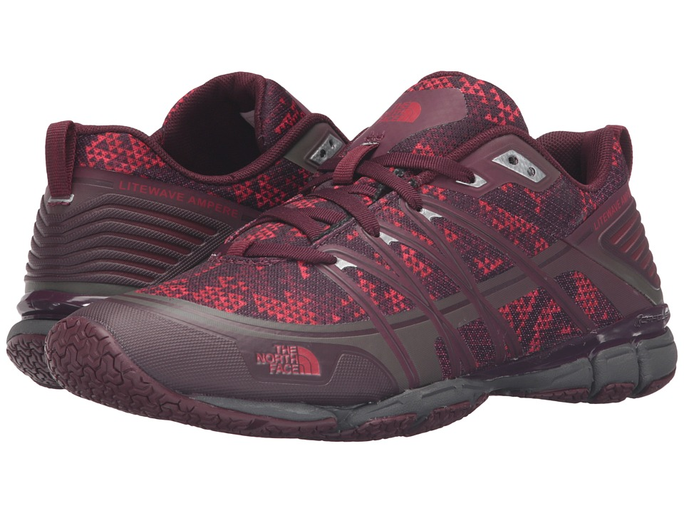 The North Face - Litewave Ampere (Deep Garnet Red Triangle Party Print/Melon Red) Women's Shoes
