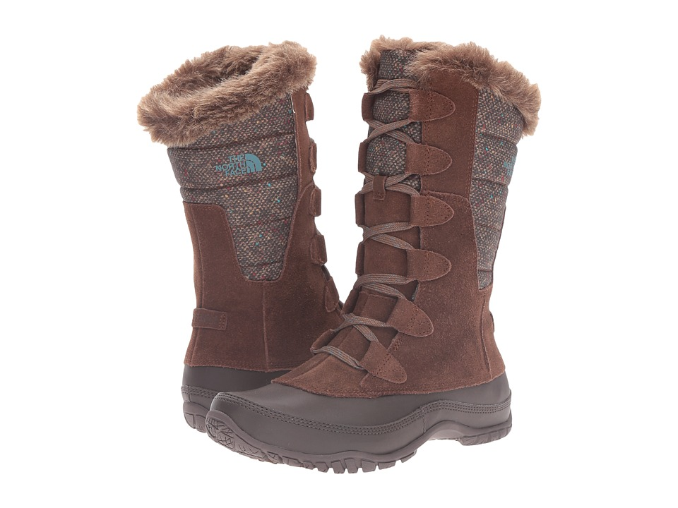 The North Face - Nuptse Purna (Dark Earth Brown/Storm Blue) Women's Cold Weather Boots