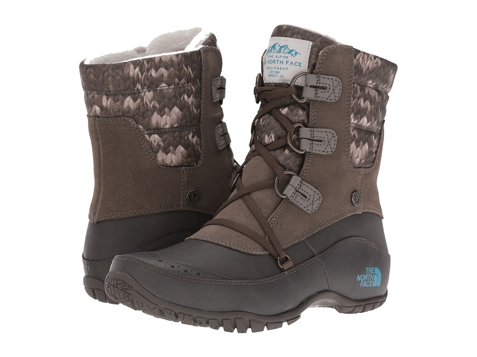 The North Face - Nuptse Purna Shorty (Shroom Brown/Storm Blue) Women's Cold Weather Boots
