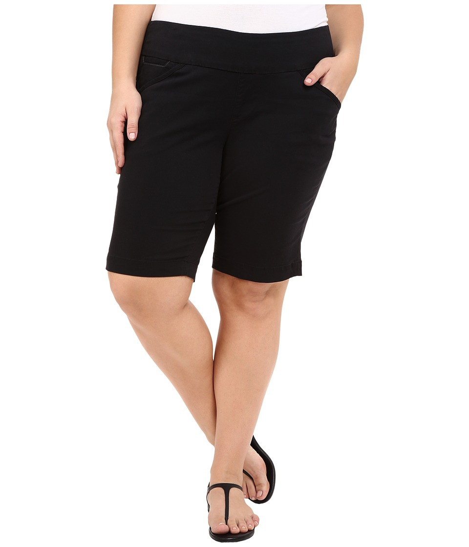 Jag Jeans Plus Size - Plus Size Ainsley Classic Fit Bermuda in Black Bay Twill (Black) Women's Shorts plus size,  plus size fashion plus size appare