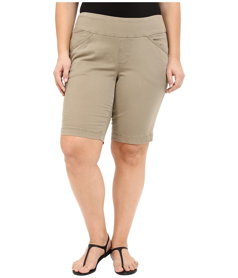 Jag Jeans Plus Size - Plus Size Ainsley Classic Fit Bermuda in Hazelnut Bay Twill (Hazelnut) Women's Shorts plus size,  plus size fashion plus size appare