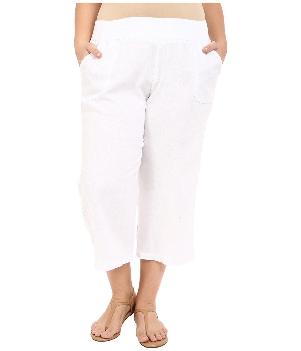 Allen Allen - Plus Size Crop Pants w/ Rib Waist (White) Women's Capri