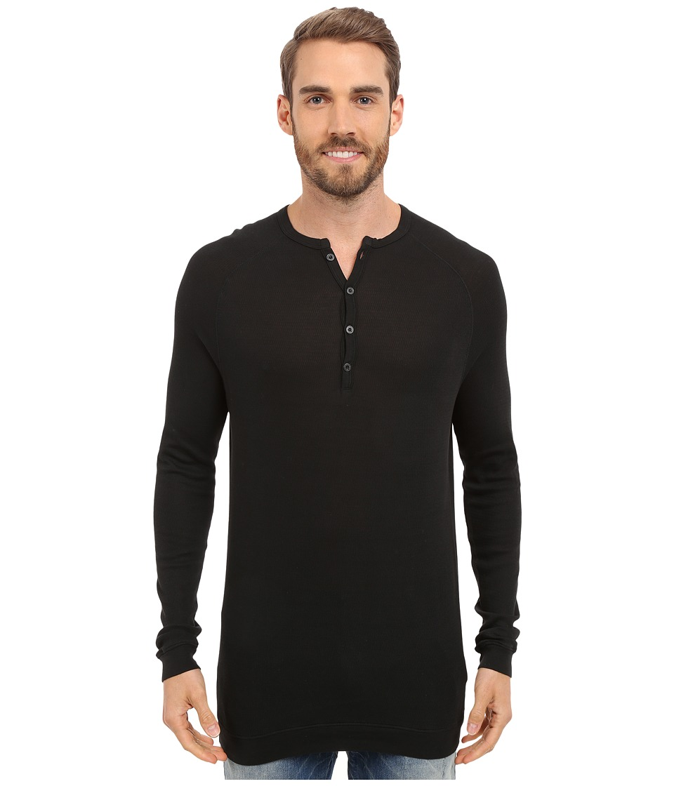Agave Denim - Bishop Supima Henley Long Sleeve (Anthracite) Men's Clothing