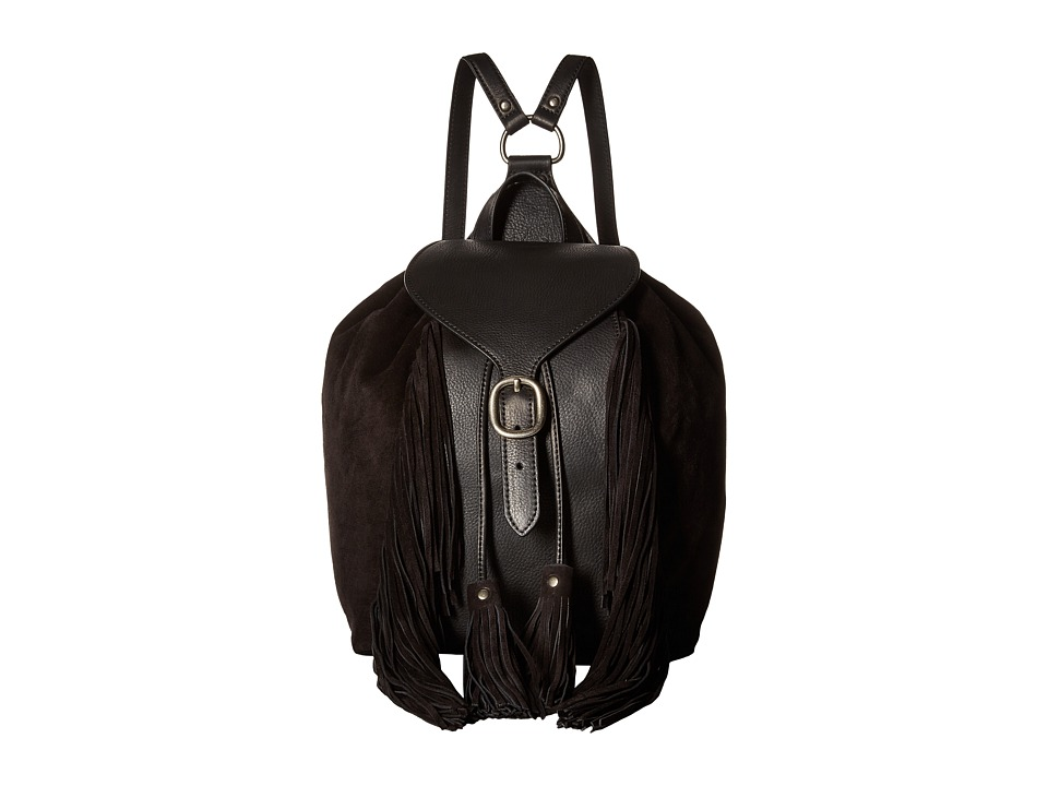 Frye - Clara Fringe Backpack (Black Soft Vintage Leather/Suede) Backpack Bags
