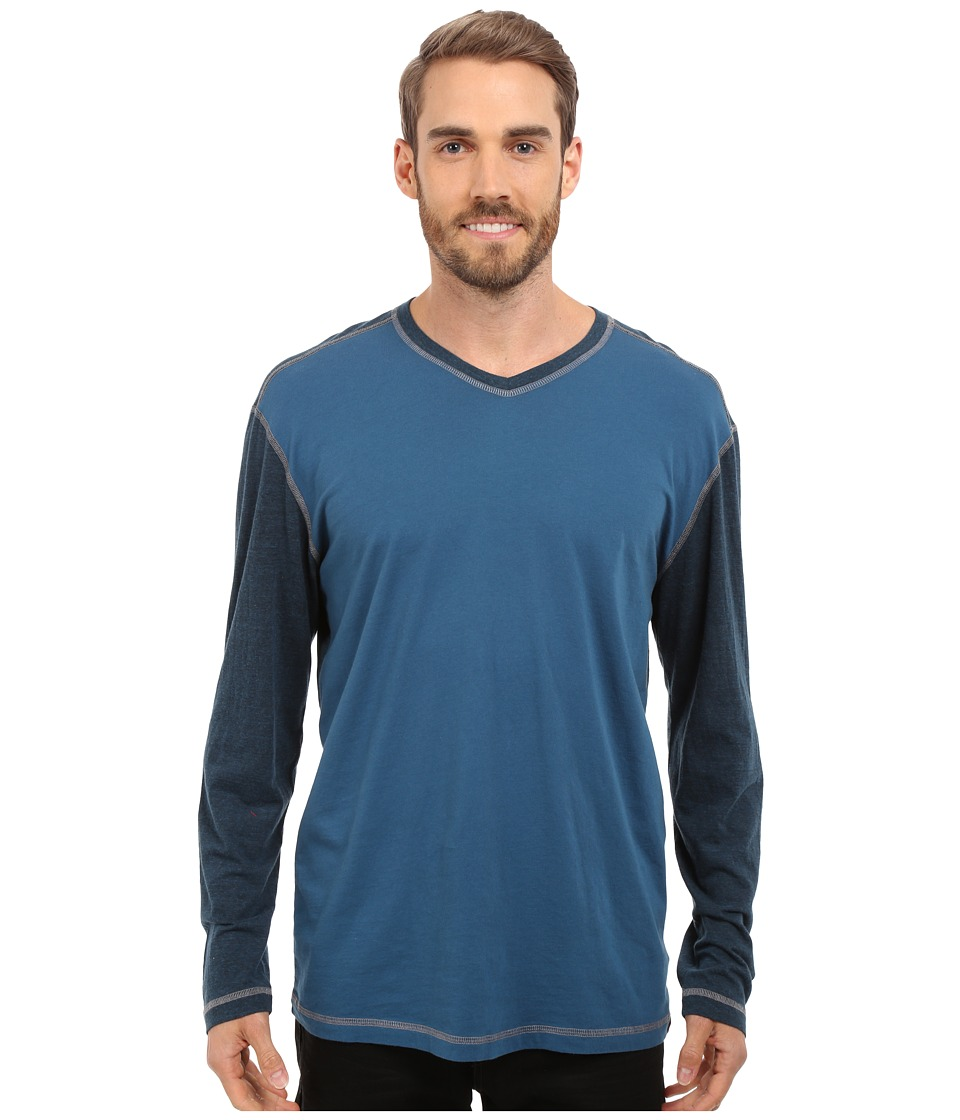 Agave Denim - Nichols Baseball V-Neck Long Sleeve (Blue Wing Teal) Men's Clothing
