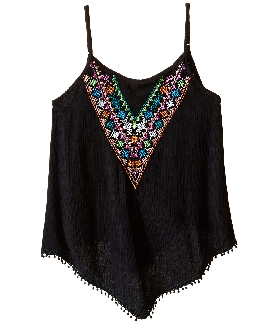 Ella Moss Girl - Zuri Sleeveless Embroidered Woven Top (Big Kids) (Black) Girl's Sleeveless